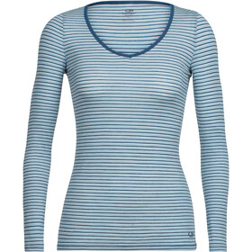 Icebreaker Siren LS Sweetheart Shirt Dame waterfall/snow/stripe